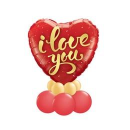 I Love You Script Arany Piros Valentin-napi Asztali Lufidísz