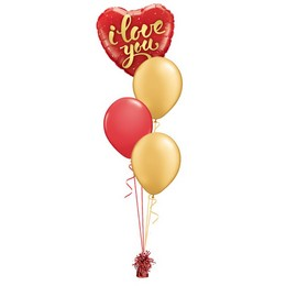 I Love You Script Arany Piros Valentin-napi Léggömbcsokor