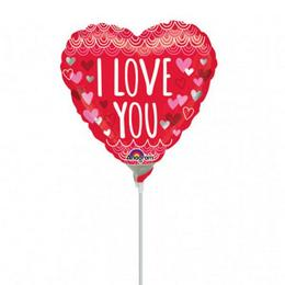 9 inch-es I Love You Sketchy Scallops Mini Shape Fólia Lufi