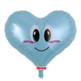 Szív Alakú Angyal Kék Színű Héliumos Fólia Lufi, 36 cm
