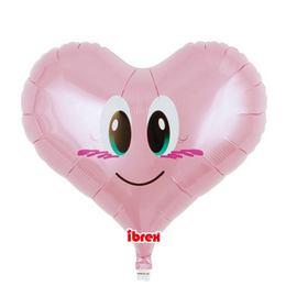 Ibrex 14 inch-es Smile Angel Jelly Pink Szív Fólia Lufi