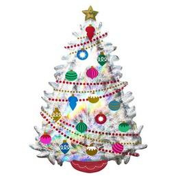 Irizáló Fehér Karácsonyfa Színes Díszekkel Karácsonyi Super Shape Fólia Lufi