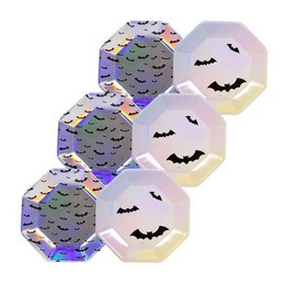 Holografikus Fényes Denevér Mintás Tányér Halloween-re