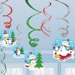 Vidám Télies Karácsonyi Spirális Függő Dekoráció, 12 db