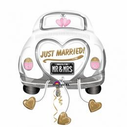 Just Married Wedding Autó - Car Super Shape Esküvői Héliumos Fólia Lufi