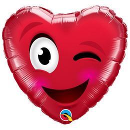 18 inch-es Smiley Wink Heart Szív Fólia Lufi Valentin-napra