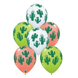 Kaktusz Mintás Vegyes Színű Gumi (Latex) Lufi, 28 cm, 25 db