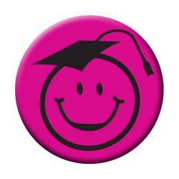 Kalapos Smile Fej Rózsaszín Kitűző Ballagásra - 5,5 cm