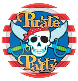 Kalóz (Pirate) Parti Tányér - 22,8 cm, 8 db-os