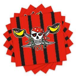 Kalóz - Red Pirate - Parti Szalvéta - 33 cm x 33 cm, 20 db-os