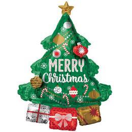 Karácsonyfa Ajándékokkal - Christmas Tree Super Shape Fólia Lufi
