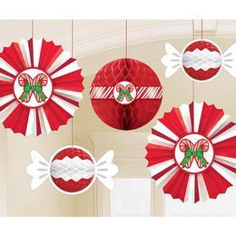 Karácsonyi Cukorkás Függő Dekoráció, 5 db-os