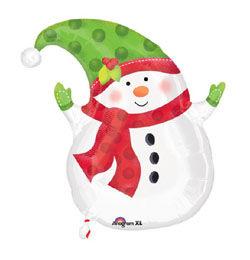 18 inch-es Hóemberes - Winter Snowman Karácsonyi Héliumos Fólia Lufi