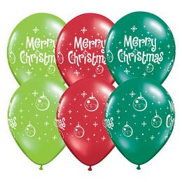 11 inch-es Merry Christmas Ornaments Assorted Karácsonyi Lufi (25 db/csomag)