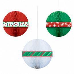 Karácsonyi Mintás Gömb Dekoráció - 3 db-os