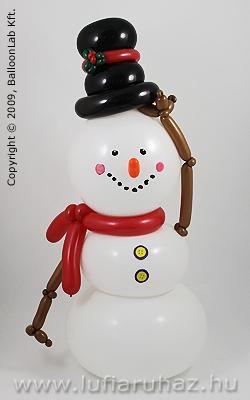 Snowman with Black Hat Téli Lufi Dekoráció