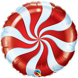 9 inch-es Nyalóka - Candy Swirl Piros Fehér Fólia Lufi