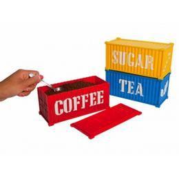 Kávé-, Cukor- és Teatartó Konténer - 3 db-os