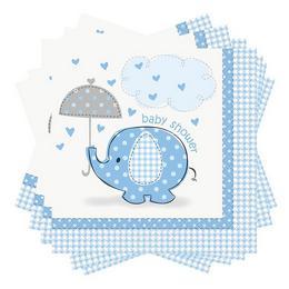 Kék Baby Shower - Bébielefánt Mintás Parti Szalvéta Babaszületésre - 33 cm x 33 cm, 1