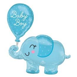 Kék Elefánt Héliumos Fólia Lufi Babaszületésre