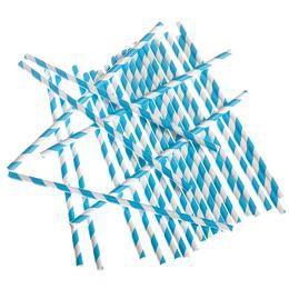 Kék-Fehér Csíkos Papír Parti Szívószál - 24 db-os, 19,5 cm