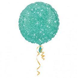 Kék Szikrázó - Csillag Mintás Kerek Héliumos Fólia Lufi, 46 cm