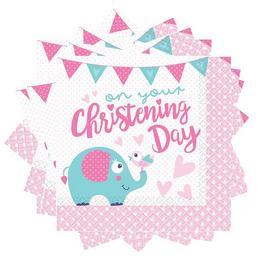 Christening Rózsaszín - Keresztelőre Elefánt Mintás Parti Szalvéta - 33 cm x 33 cm, 1