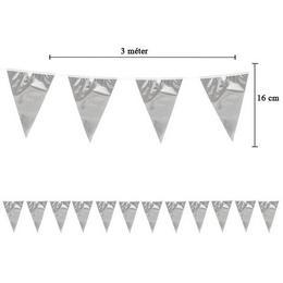 Kicsi Fényes Ezüst Zászlófüzér - 3 m