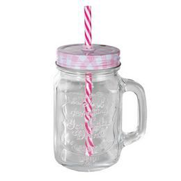 Kockás Tetős Átlátszó Üveges Befőttes Koktél Pohár - Rózsaszín - 440 ml