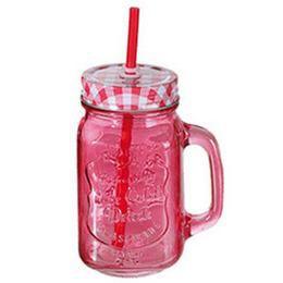 Kockás Tetős Színes Üveges Befőttes Koktél Pohár - Rózsaszín - 440 ml