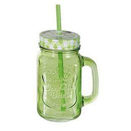 Kockás Tetős Színes Üveges Befőttes Koktél Pohár - Zöld - 440 ml