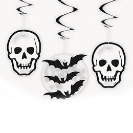 Koponyák és Denevérek Spirális Függő Dekoráció Halloween-re - 3 db-os