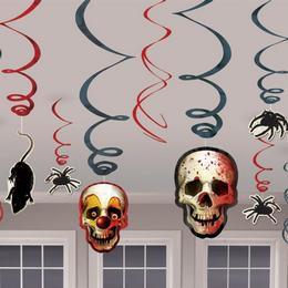Koponyás Patkányos Pókos Spirális Függő Dekoráció Halloween-re, 12 db-os