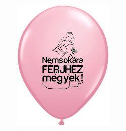 Lufi Lánybúcsúra - Nemsokára Férjhez Megyek, Pink, 28 cm, 6 db