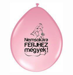 11 inch-es Nemsokára Férjhez Megyek Felirattal Pink Neck Up Lufi (6 db/csomag)