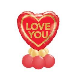 Love You Arany Piros Valentin-napi Asztali Lufidísz