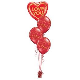 Love You Arany Piros Valentin-napi Léggömbcsokor
