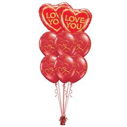 Love You Arany Piros Valentin-napi Prémium Léggömbcsokor