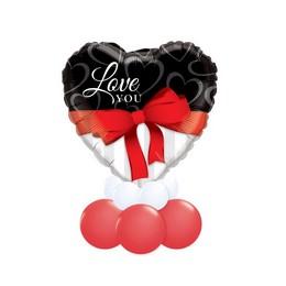 Love You Fekete Fehér Piros Valentin-napi Asztali Lufidísz