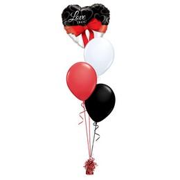 Love You Fekete Fehér Piros Valentin-napi Léggömbcsokor