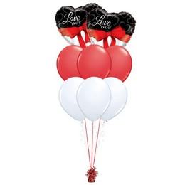 Love You Fekete Fehér Piros Valentin-napi Prémium Léggömbcsokor