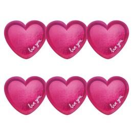 Love You Feliratú Rózsaszín Fényes Parti Tányér