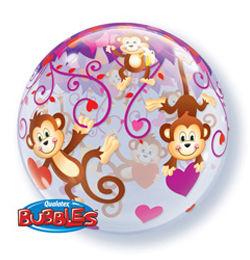 22 inch-es Love Monkeys - Majmok Szívvel Szerelmes Héliumos Bubble Lufi