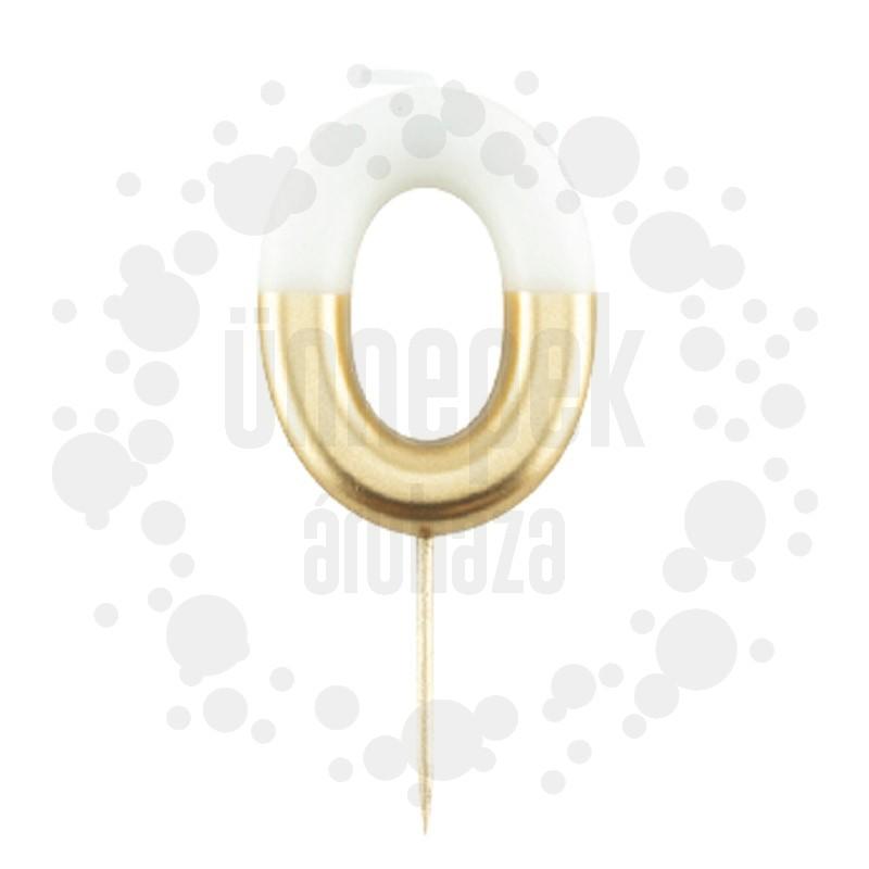 0-ás Fényes Fehér Arany Szülinapi Számgyertya