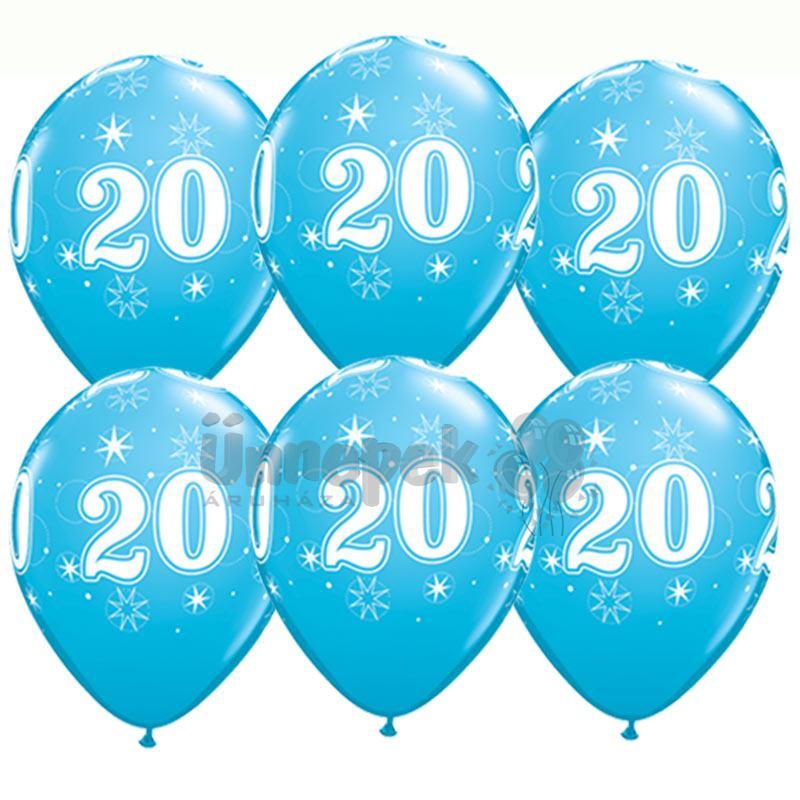 11 inch-es 20-as Sparkle-A-Round Robins Egg Blue Szülinapi Lufi (25 db/csomag)