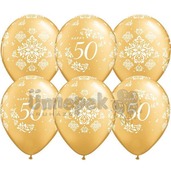 11 inch-es 50th Anniversary Damask Gold Lufi (25 db/csomag)