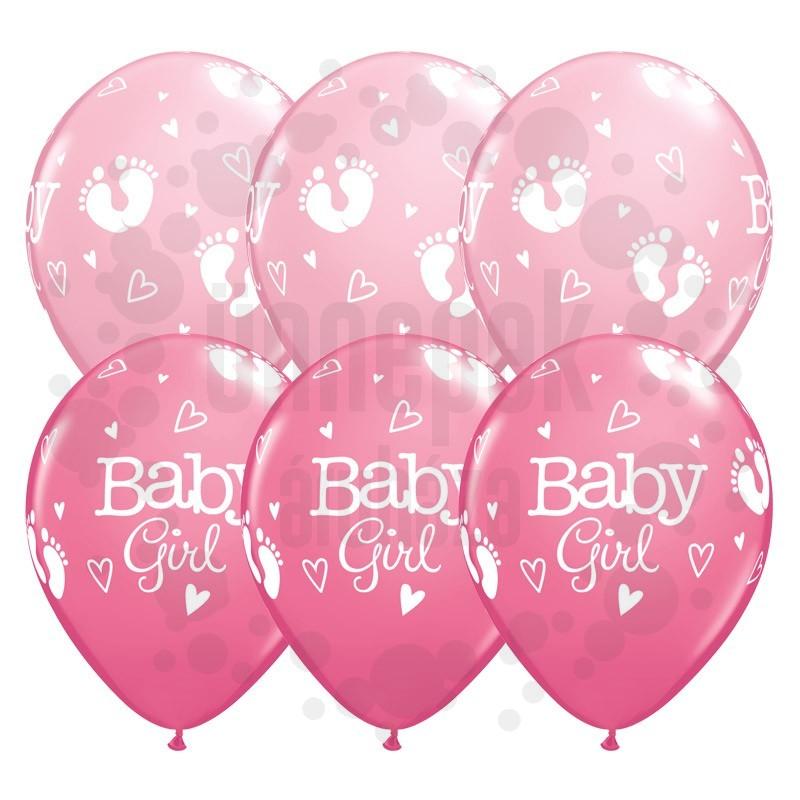 11 inch-es Baby Girl Footprints & Hearts Lufi Babaszületésre (25 db/csomag)