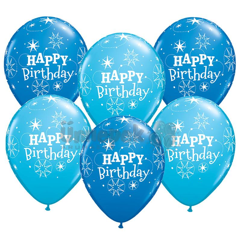 11 inch-es Birthday Sparkle Dark Blue & Robin's Egg Blue Szülinapi Lufi (25 db/csomag