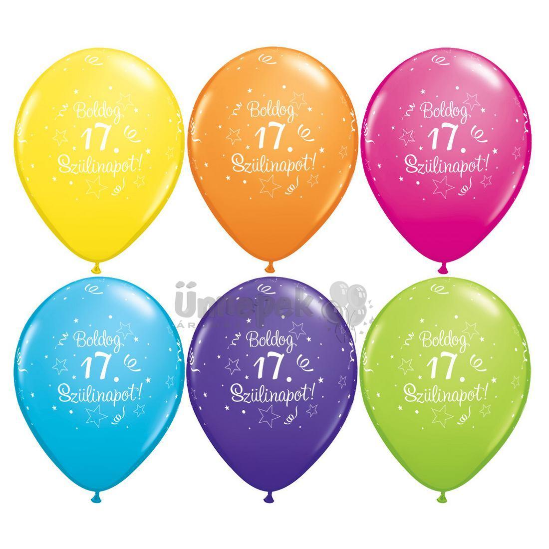 boldog 17 születésnapot 17. Szülinapi Csillag Mintás Vegyes Színű Gumi Lufi, 6 db, 28 cm boldog 17 születésnapot