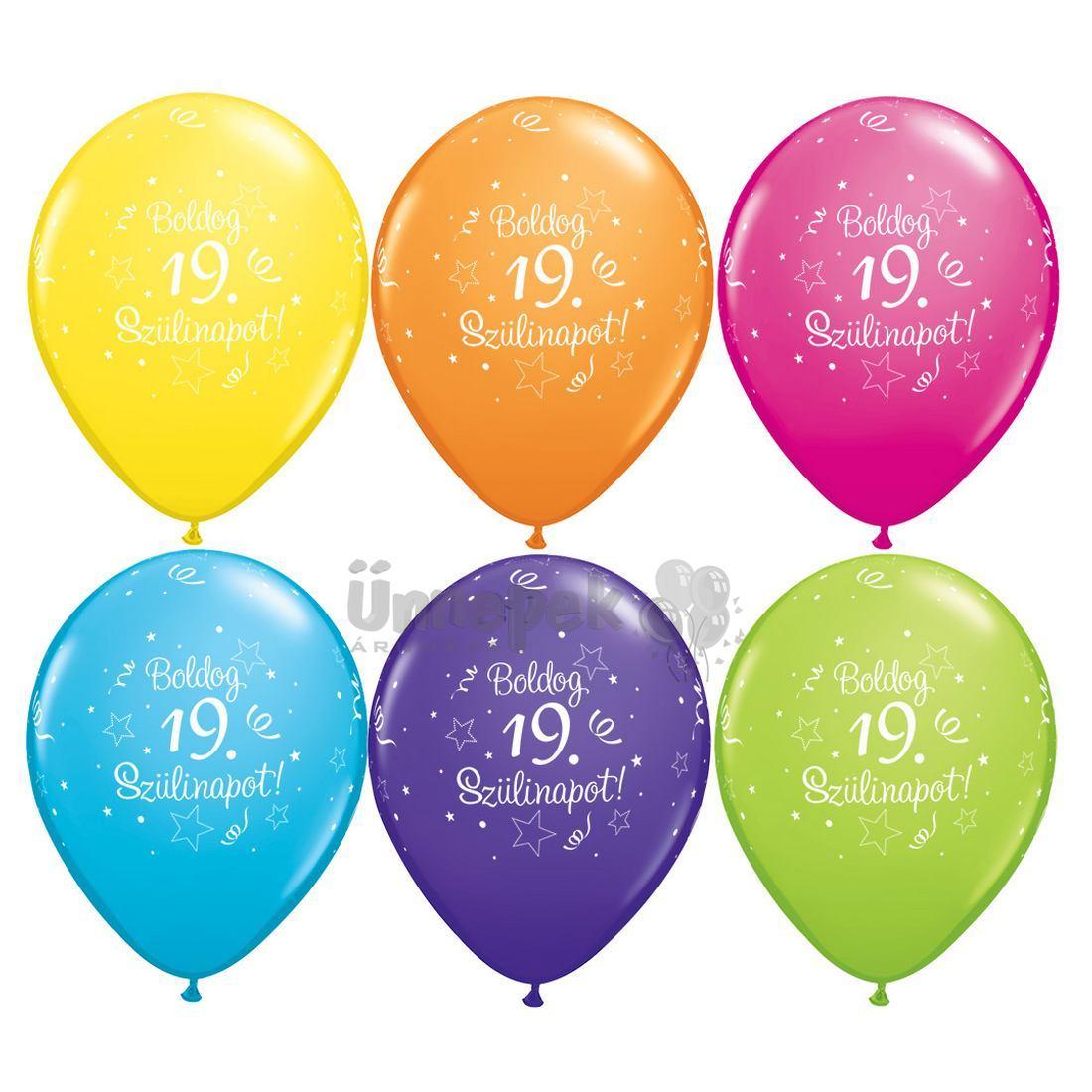 boldog 19 születésnapot 19. Szülinapi Csillag Mintás Vegyes Színű Gumi Lufi, 6 db, 28 cm boldog 19 születésnapot